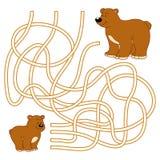 Labyrintlek för barn (björnfamiljen) Fotografering för Bildbyråer