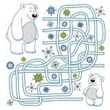 Labyrintlek för barn (isbjörnar) Royaltyfri Fotografi