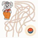 Labyrintlek för barn (kanin) Arkivbild