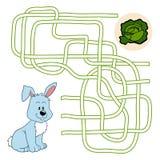 Labyrintlek för barn (kanin och colen) Arkivbild