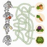 Labyrintlek för barn (kaniner) Arkivbilder