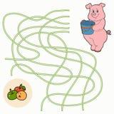 Labyrintlek för barn (svinet) Royaltyfria Bilder