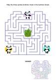 Labyrintlek för ungar - pandabjörnar Royaltyfri Foto