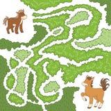 Labyrintlek: hjälp den lilla hästen att finna vägen att fostra Arkivfoto