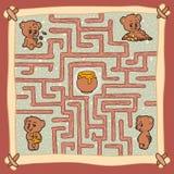 Labyrintlek: Hjälp en av björnarna att finna en väg till honung Royaltyfri Bild