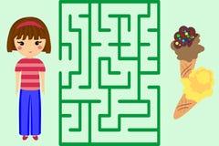 Labyrintlek Hjälp flickan att få glass Pussel royaltyfri illustrationer