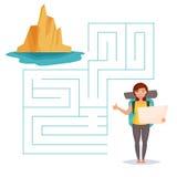 Labyrintlek Kvinna med ryggsäcken, stock illustrationer