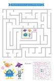 Labyrintlek med gulliga monster Royaltyfri Bild