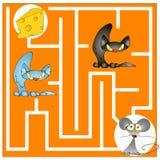 Labyrintlek om en katt och en mus Royaltyfri Fotografi