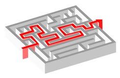 Labyrintpussel och lösning Arkivfoto
