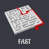 Labyrintraadsel met een snelle korte oplossing Stock Afbeeldingen