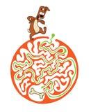 Labyrintraadsel voor jonge geitjes met hond en been Labyrintillustratie, inbegrepen oplossing Royalty-vrije Stock Afbeeldingen
