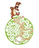 Labyrintraadsel voor jonge geitjes met hond en been Labyrintillustratie, inbegrepen oplossing Stock Afbeeldingen