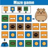 Labyrintspel, dierenthema Het blad van de jonge geitjesactiviteit Het spel van het logicalabyrint met codenavigatie Royalty-vrije Stock Afbeeldingen