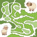 Labyrintspel: Help de schapen om het kleine lam te vinden Royalty-vrije Stock Foto