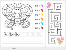 Labyrintspel, Kleur door aantallen - Aantekenvel voor onderwijs Stock Afbeeldingen