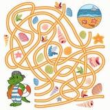 Labyrintspel (krokodil) royalty-vrije illustratie