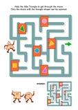 Labyrintspel met driehoek en duidelijke deuren vector illustratie