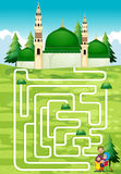 Labyrintspel met mensen en moskee vector illustratie