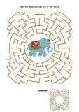 Labyrintspel met olifant stock illustratie