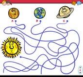 Labyrintspel met planeetkarakters Stock Afbeeldingen