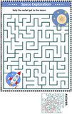 Labyrintspel met raket en maan vector illustratie