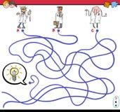 Labyrintspel met wetenschapperkarakters Stock Afbeeldingen
