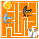 Labyrintspel over een kat en een muis royalty-vrije stock fotografie