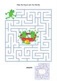 Labyrintspel voor jonge geitjes - speelse kikkers Royalty-vrije Stock Afbeeldingen