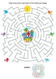Labyrintspel voor jonge geitjes - vogels en vogelhuizen Royalty-vrije Stock Foto's