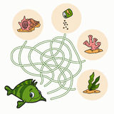 Labyrintspel voor kinderen (vissen) Royalty-vrije Stock Foto's