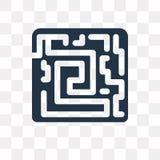 Labyrintvektorsymbol som isoleras på genomskinlig bakgrund, Labyri stock illustrationer