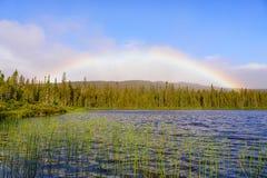 Lac à Pierre, Parc National de la Gaspesie. Rainbow at Lac à Pierre, Parc National de la Gaspesie Stock Photography