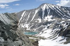 Lac Akchan, bâti Colban, République mountain d'Altai Images stock