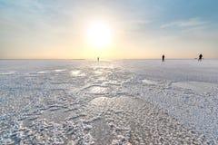 Lac ale de cul, dans la dépression de Danakil images libres de droits