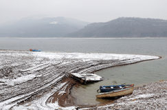 Lac alexander Stamboliiski en hiver Photographie stock libre de droits