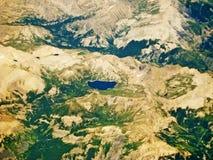 Lac Allos, France - vue aérienne Images libres de droits