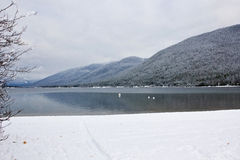 Lac alpin winter Photographie stock