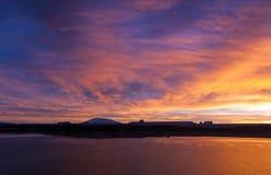 lac au-dessus de lever de soleil de powell Photos stock
