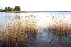 Lac au jour d'été de coucher du soleil Temps calme calme L'eau lisse photographie stock libre de droits