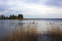Lac au jour d'?t? de coucher du soleil Temps calme calme L'eau lisse photos libres de droits