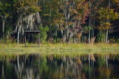 Lac avec des arbres à l'arrière-plan Photos libres de droits