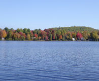 Lac avec des feuilles d'automne photos libres de droits