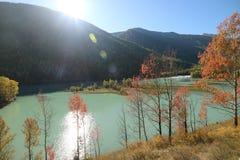Lac avec la chute, dans le Xinjiang Photos libres de droits