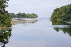 Lac avec les arbres reflétés photo stock