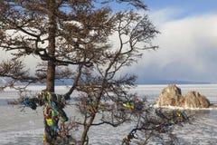 Lac Baikal Île d'Olkhon dans l'horaire d'hiver image libre de droits