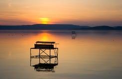 Lac Balaton après coucher du soleil image libre de droits