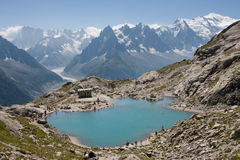 Lac Blanc. View over Lac Blanc to the Mont Blanc mountain range. Lac Blanc is situated in the Aiguille Rouge near Chamonix, France Royalty Free Stock Photos