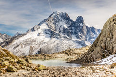 Lac Blanc And Aiguille Verte Mountain - France Royalty Free Stock Image
