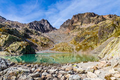 Lac Blanc With Aiguilles Des Rouges-France. View Of Lac Blanc With Aiguilles Des Rouges In The Background During Summer Day-Mont Blanc Area, France Stock Images